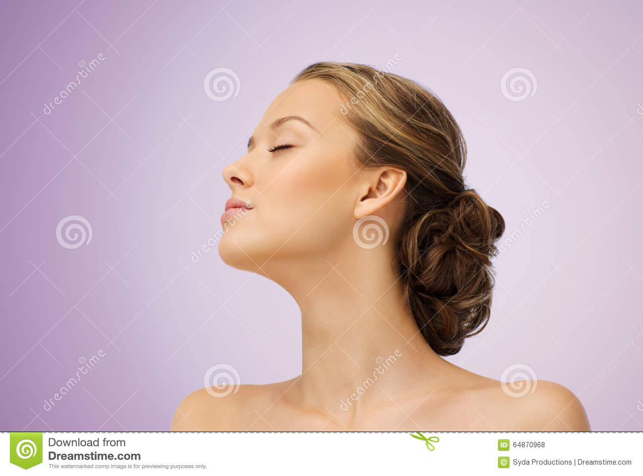Young Woman Face Side View And Shoulders Stock Photo ...