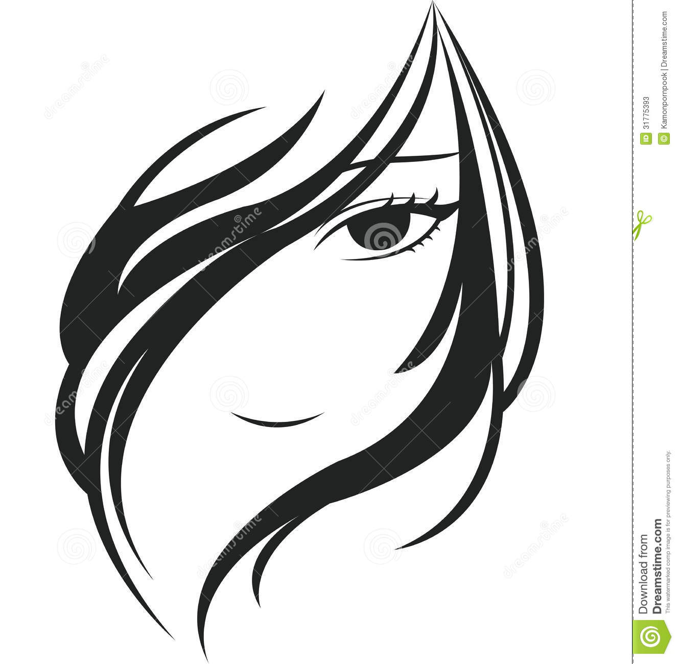 Young woman face stock vector. Illustration of hair ...