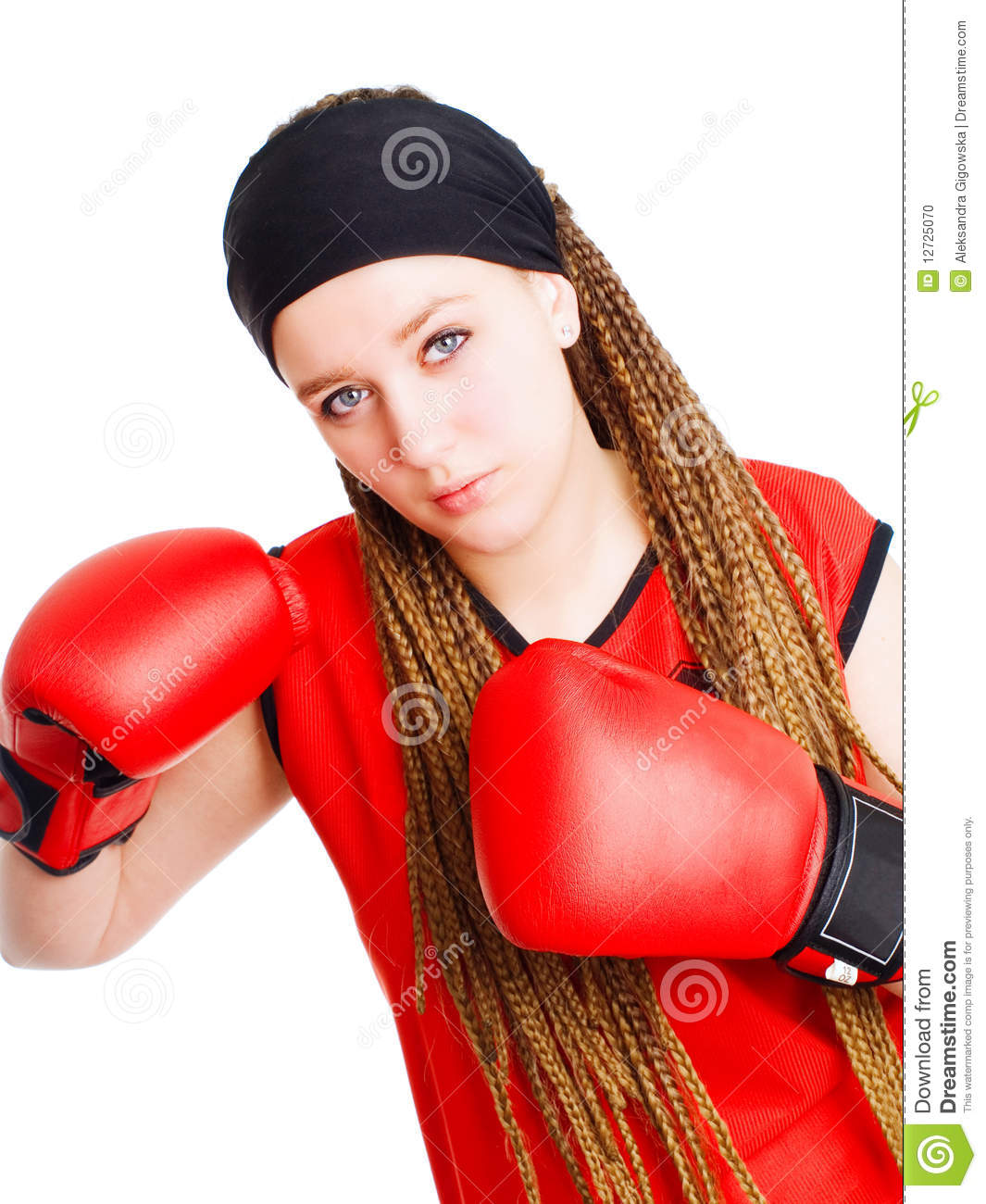 Young Woman Fighter With Boxing Gloves Stock Photo - Image ...