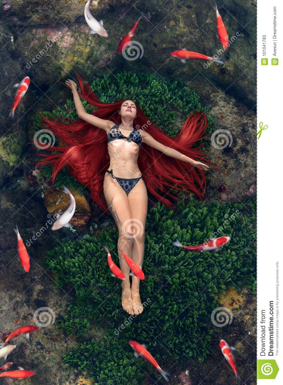 Download Young Woman Floating In Water Stock Image - Image of legend, light: 101041783