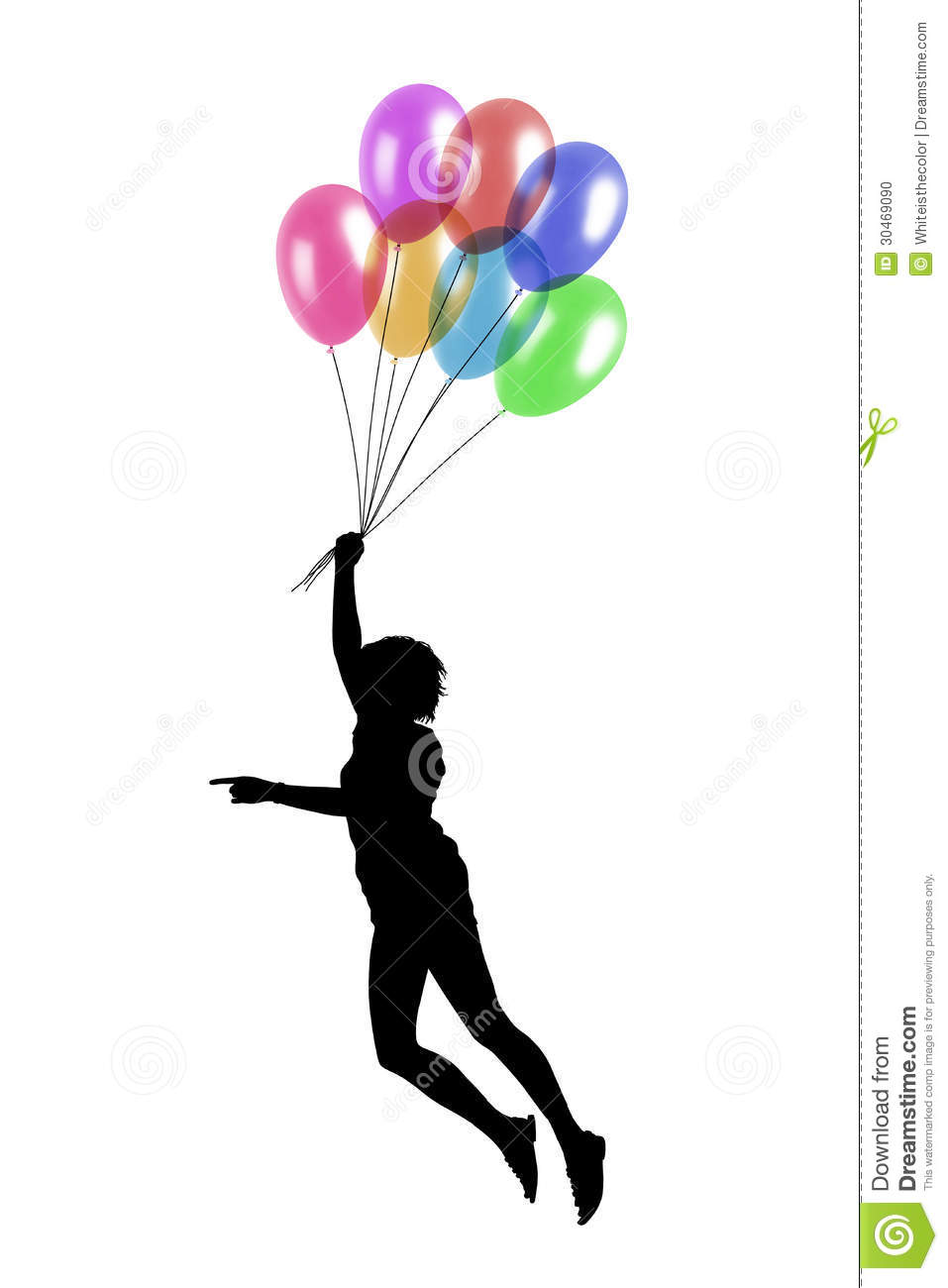 Young Woman Flying With Balloons Stock Photo - Image: 30469090