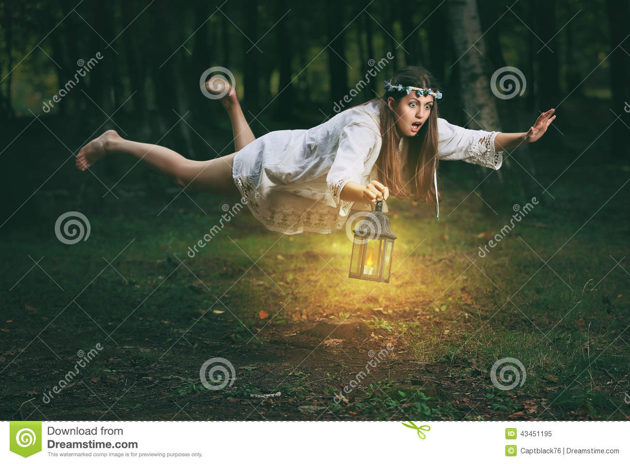 Young Woman Flying In The Woods Stock Image - Image Of ...