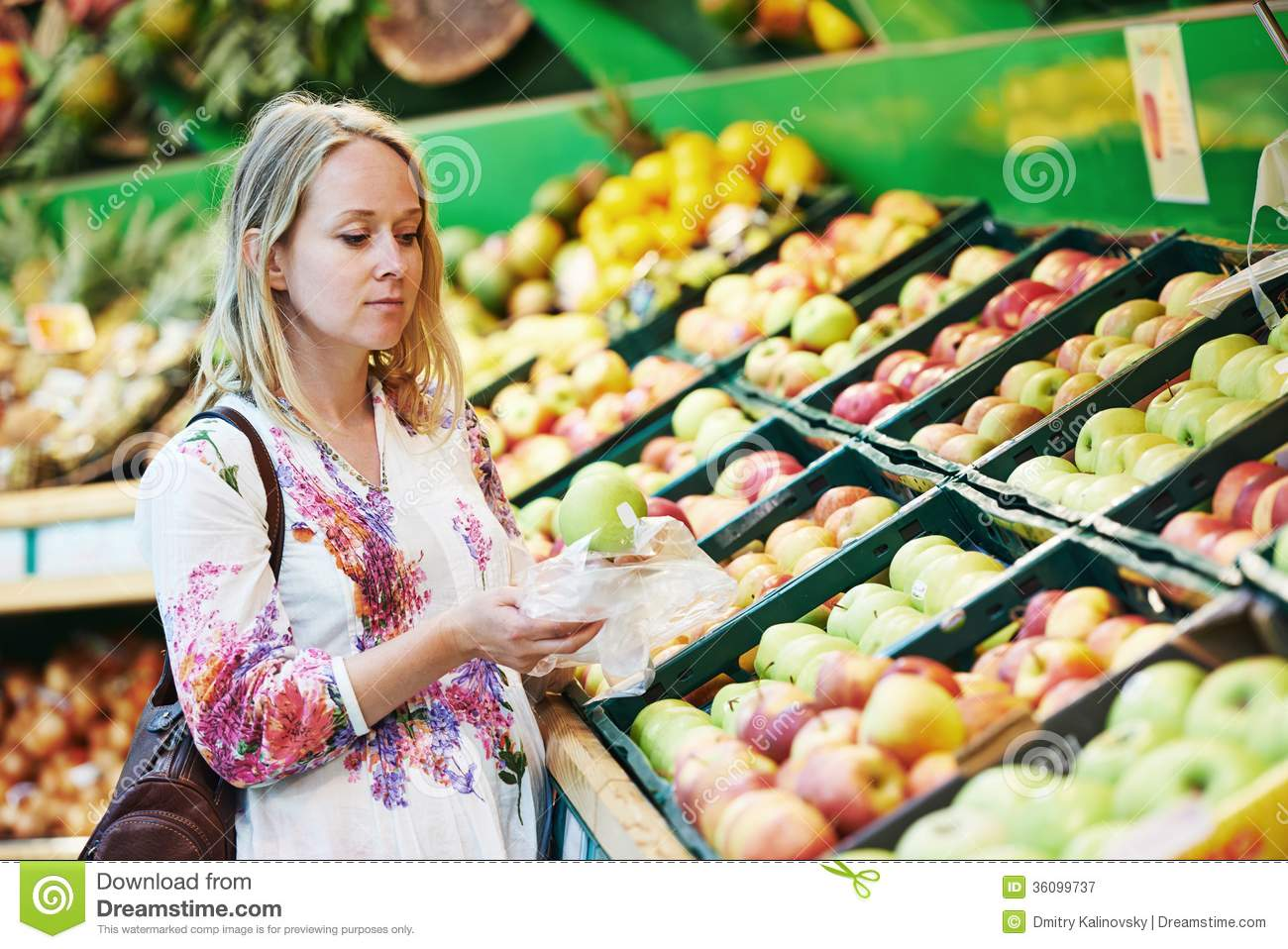 Young Woman At Food Shopping In Supermarket Royalty Free Stock ...