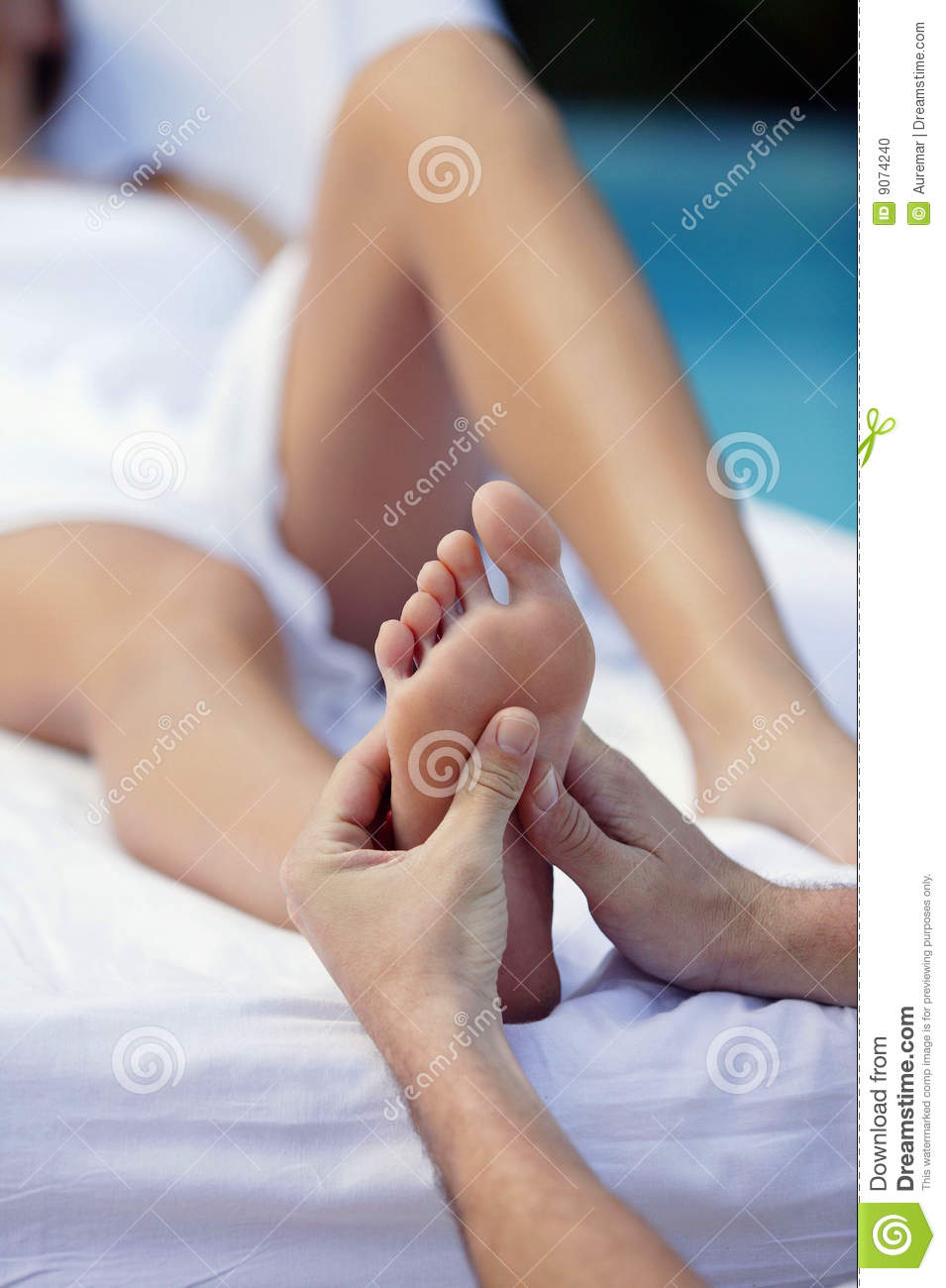 Young woman and foot massage