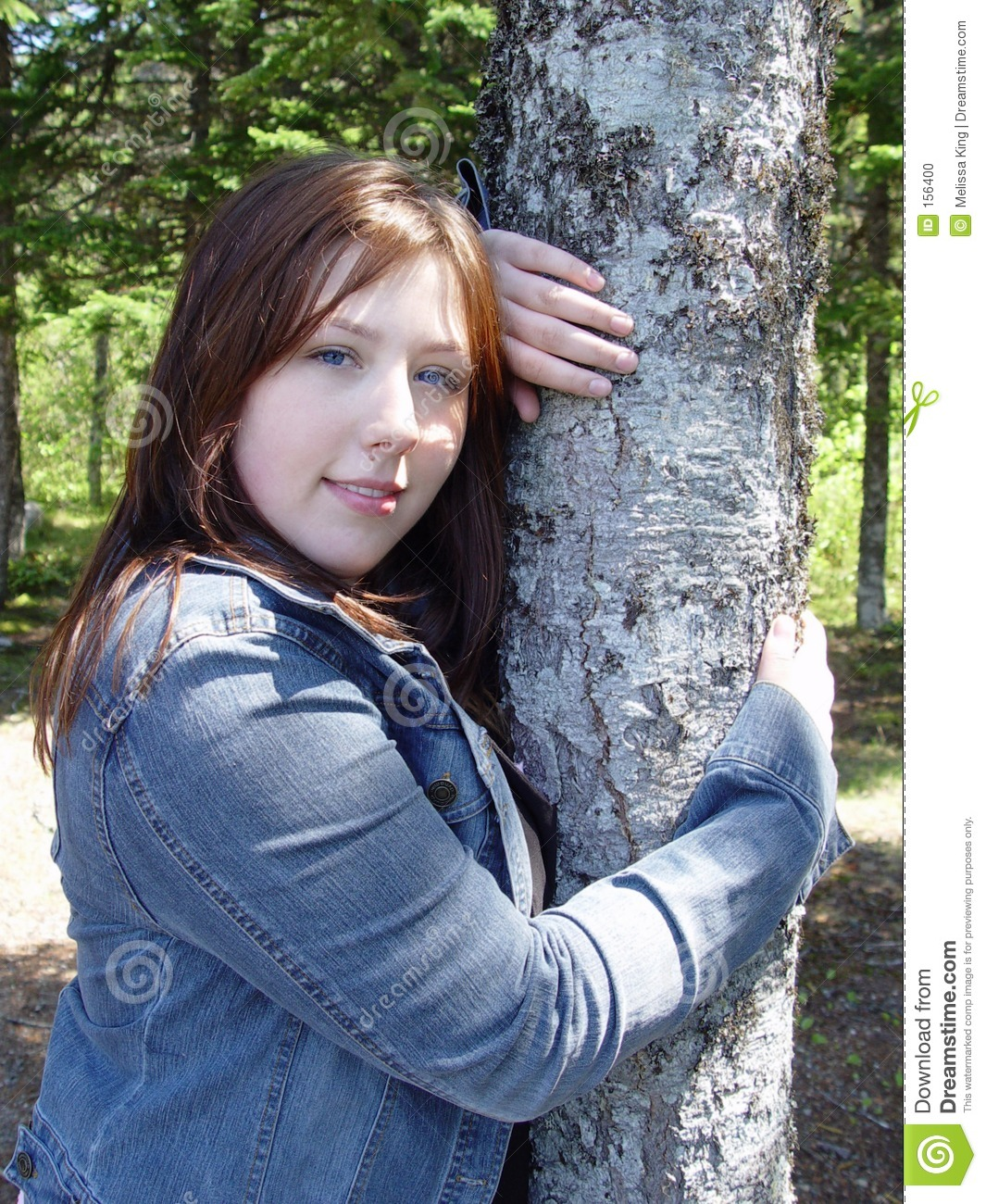 Young woman in forest