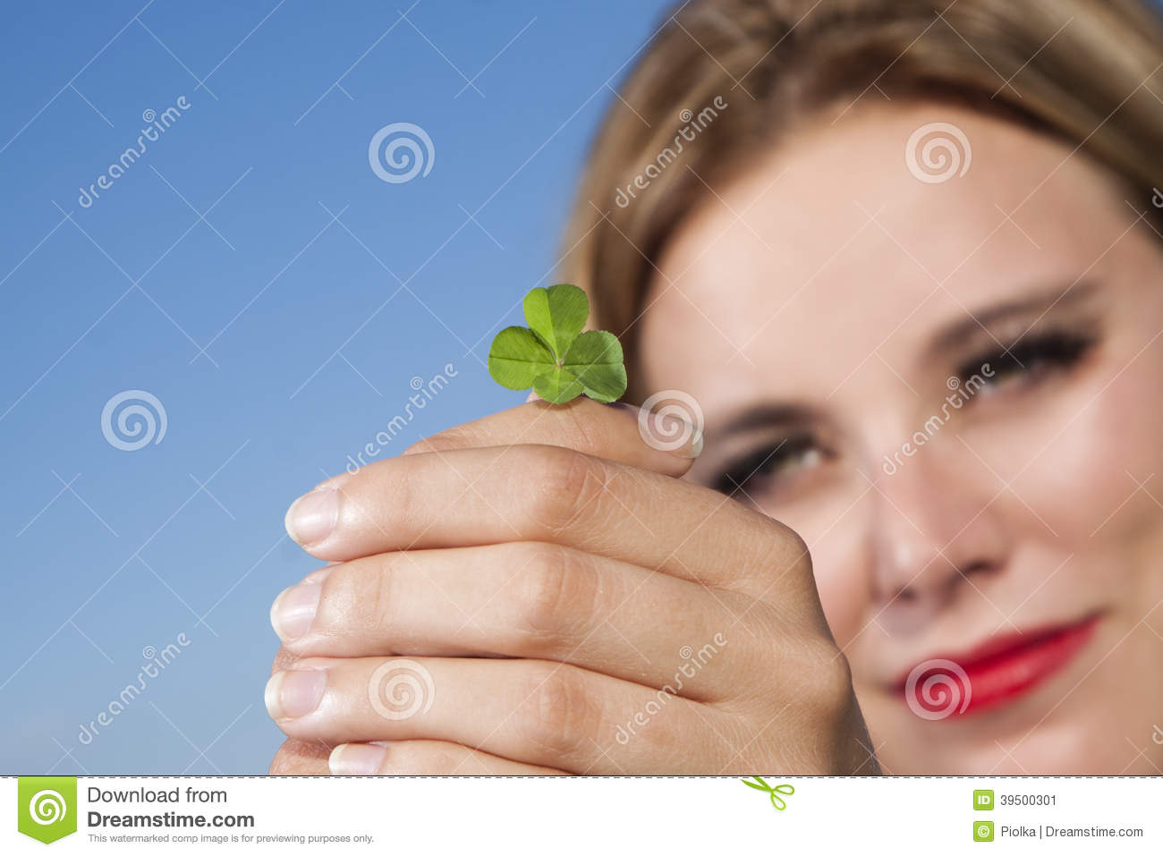 Download Young Woman With Four-leaf Clover Stock Image - Image of congratulation, clover: 39500301