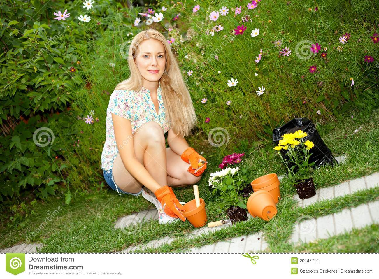 Young Woman Gardening Royalty Free Stock Images Image