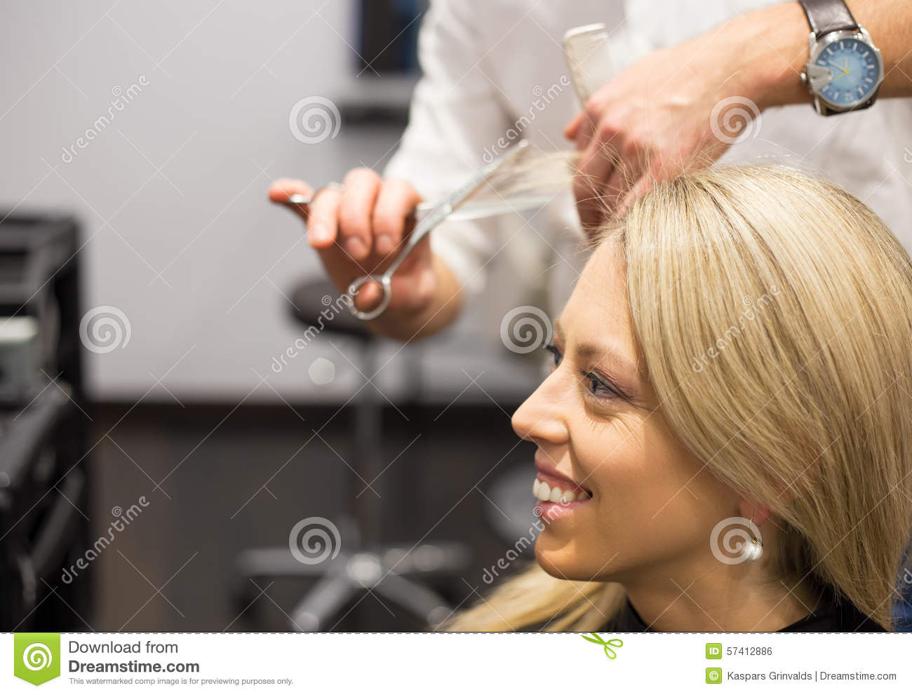 Young Woman Getting New Haircut Stock Photo Image Of Customer