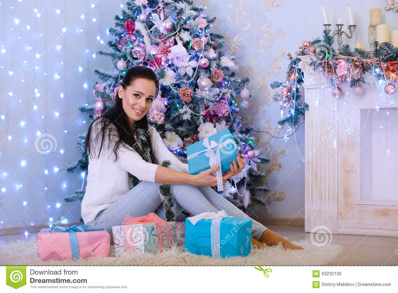 young woman with gift  christmas  stock photo