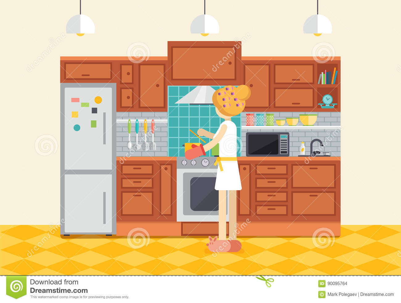 Cartoon kitchen counter gallery - Cartoon Kitchen Counter Free Countertop Clipart Young Woman Or Girl Cooking Dinner In Kitchen Housewife
