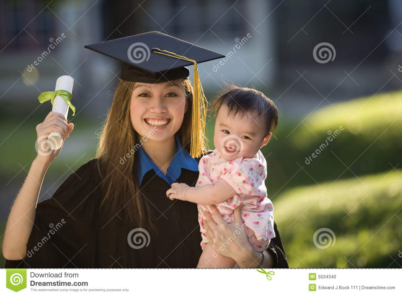 Young Woman Graduate Holding Baby Stock Photo Image Of