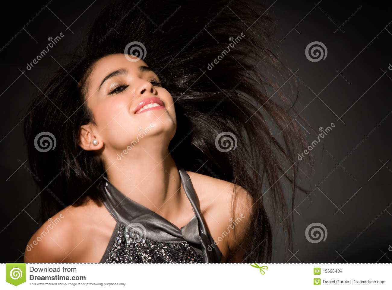 Young woman hair flying fashion glamour