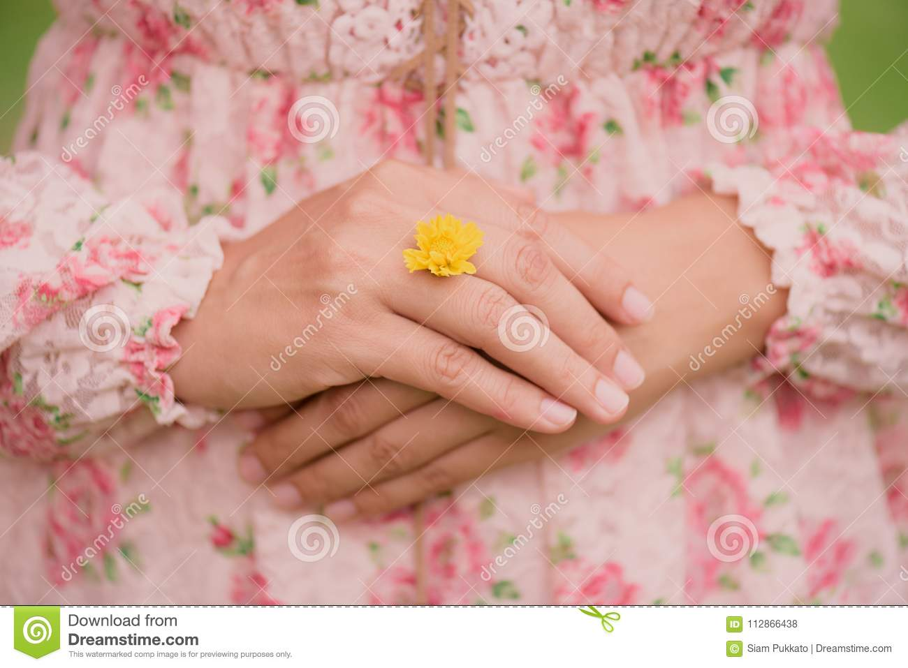 Young Woman Hand Wearing Yellow Flower Represent Of Wedding Ring ...
