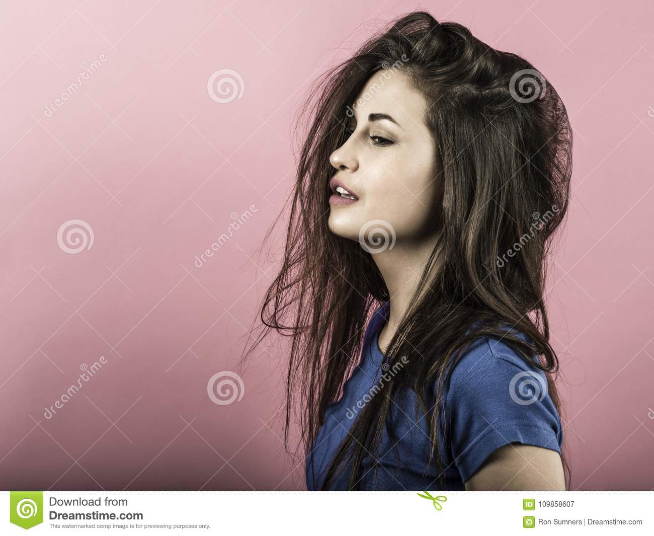 Young woman having bad hair day