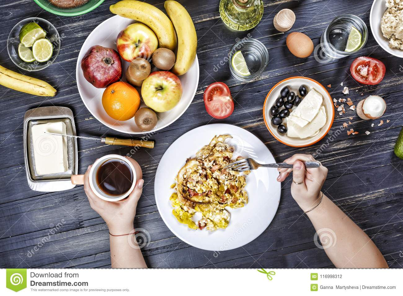 Healthy Breakfast Food Meal Diet Different Of Dishes Homemade