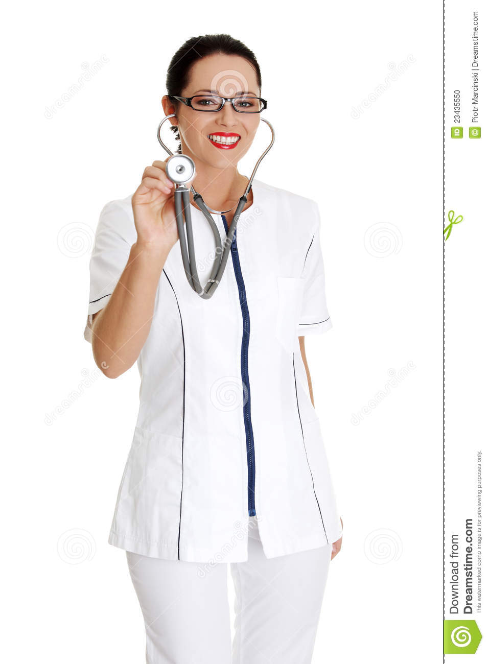 Young woman in healthcare worker uniform stock photo for Uniform spa vector