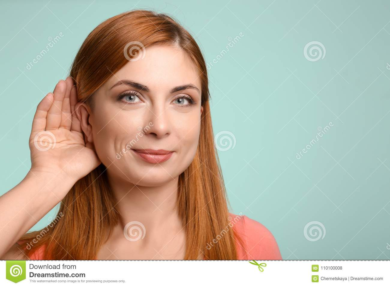 Young woman with hearing problem