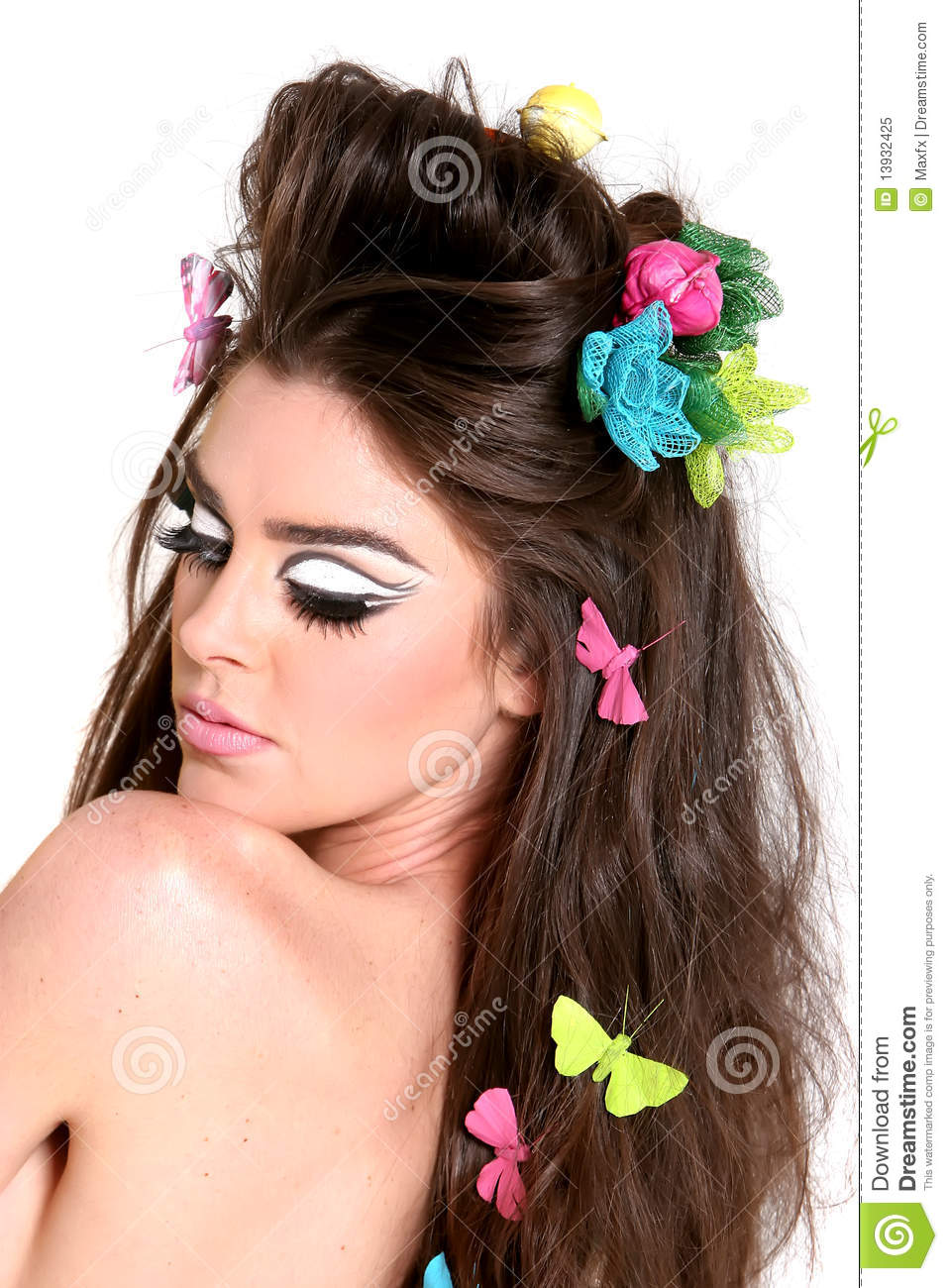 Young Woman With High Fashion Makeup And Hairstyle Stock Image Image 13932425