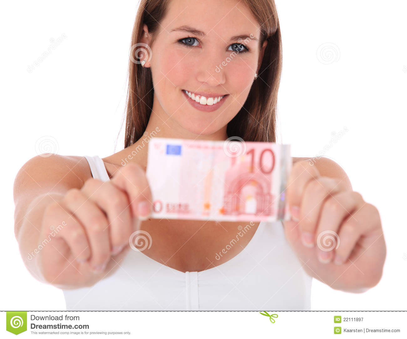 Download Young Woman Holding 10 Euro Stock Image - Image of attractive, euro: 22111897