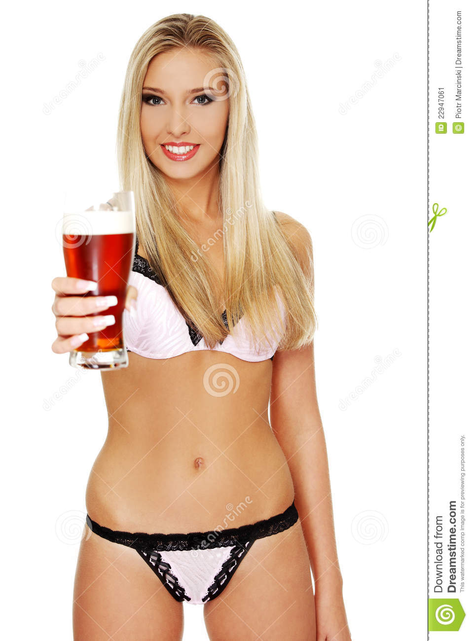 Young Woman Holding A Beer Stock Image  Image Of Beautiful
