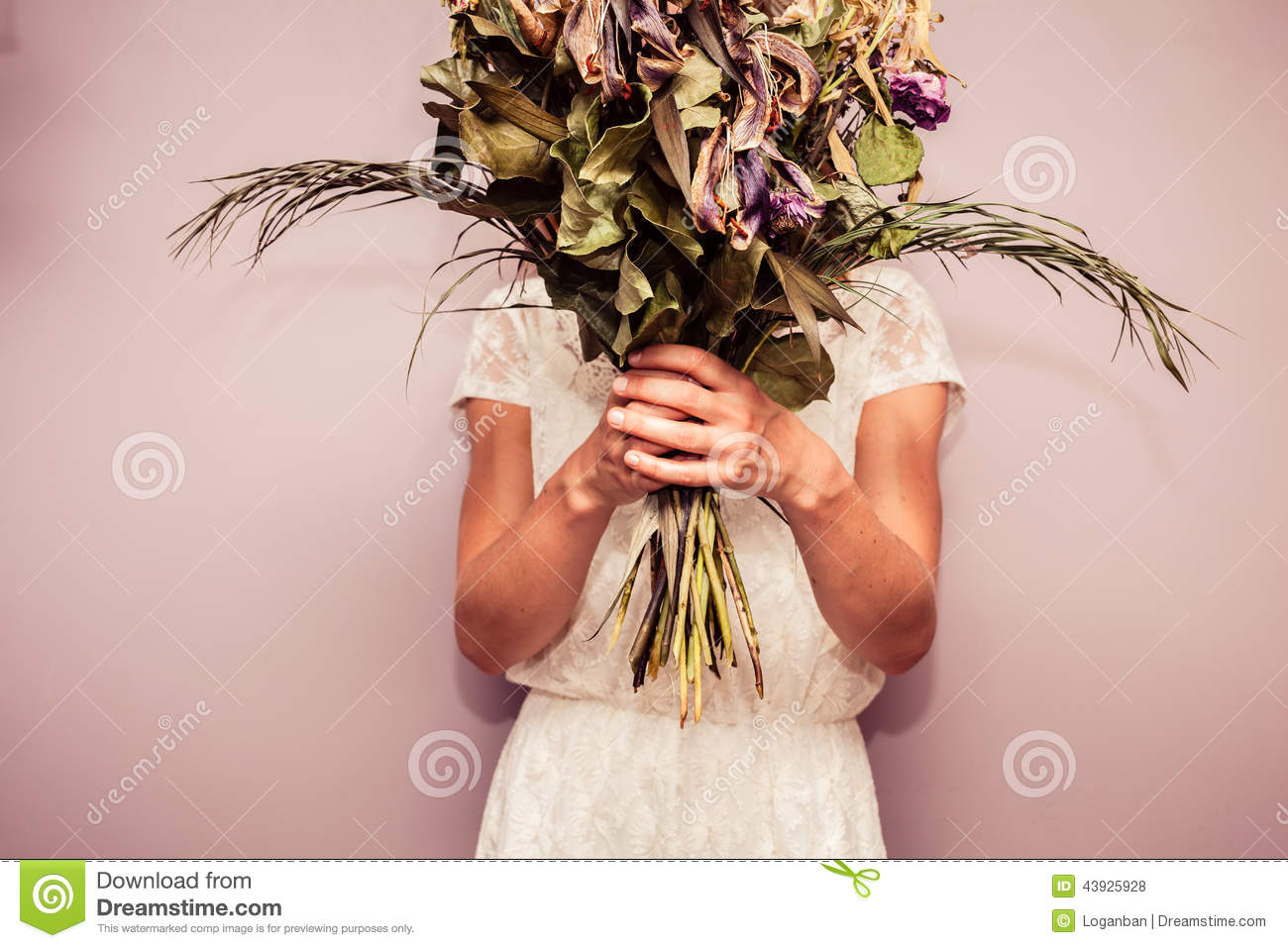 Young Woman Holding Bouquet Of Dead Flowers Stock Photo Image Of