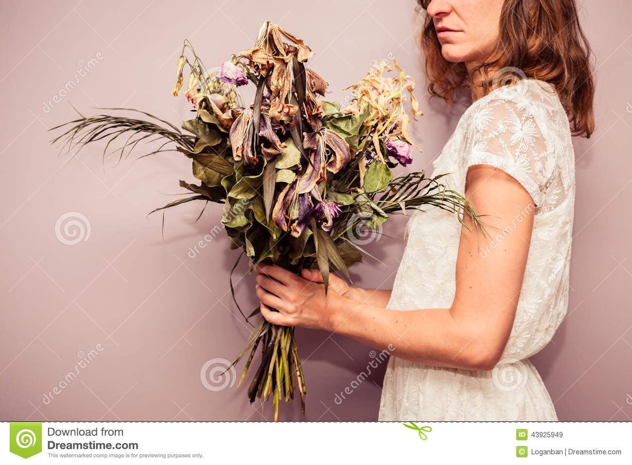 Young Woman Holding Bouquet Of Dead Flowers Stock Image Image Of