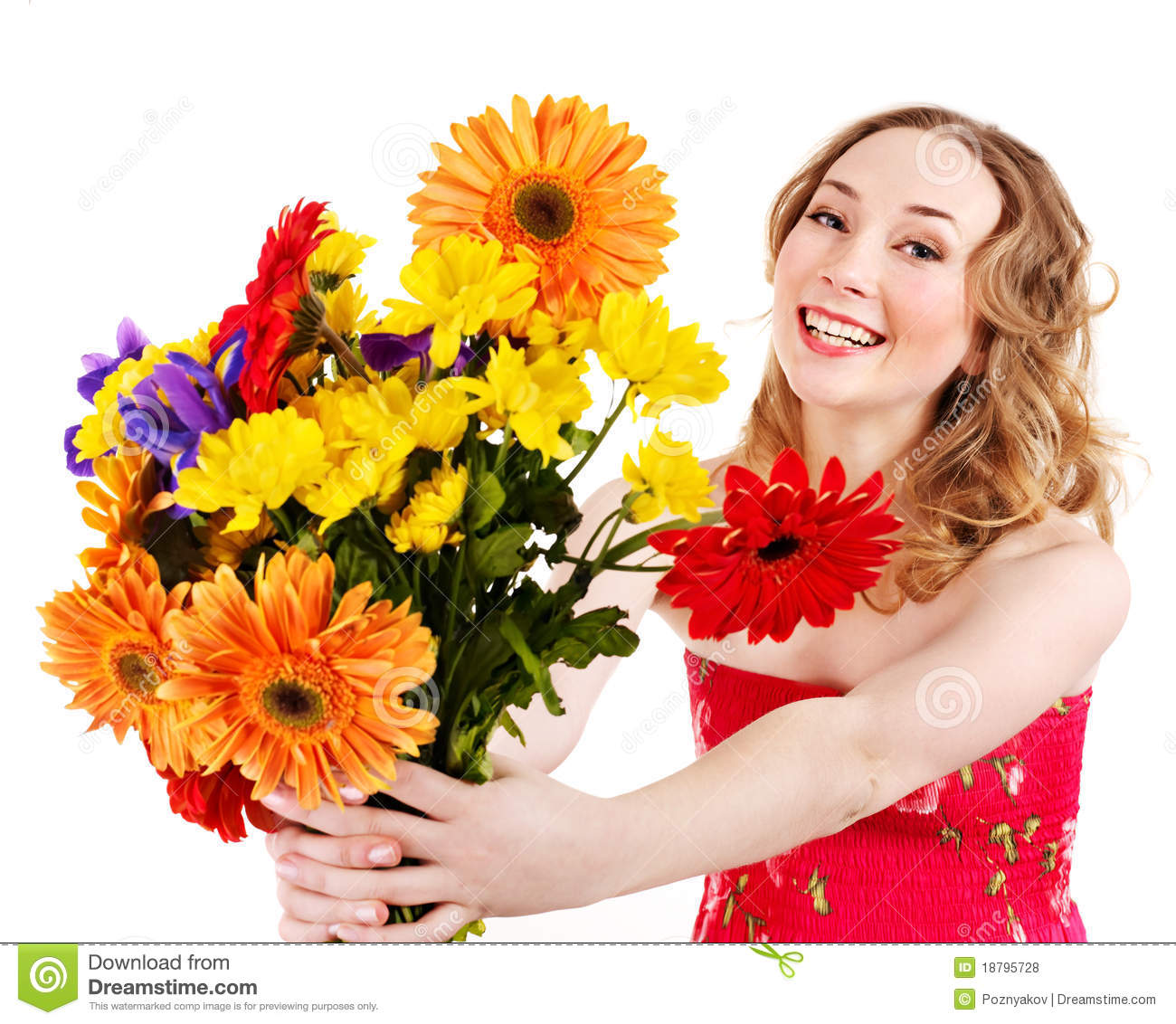 Young Woman Holding Flowers. Royalty Free Stock Photos ...