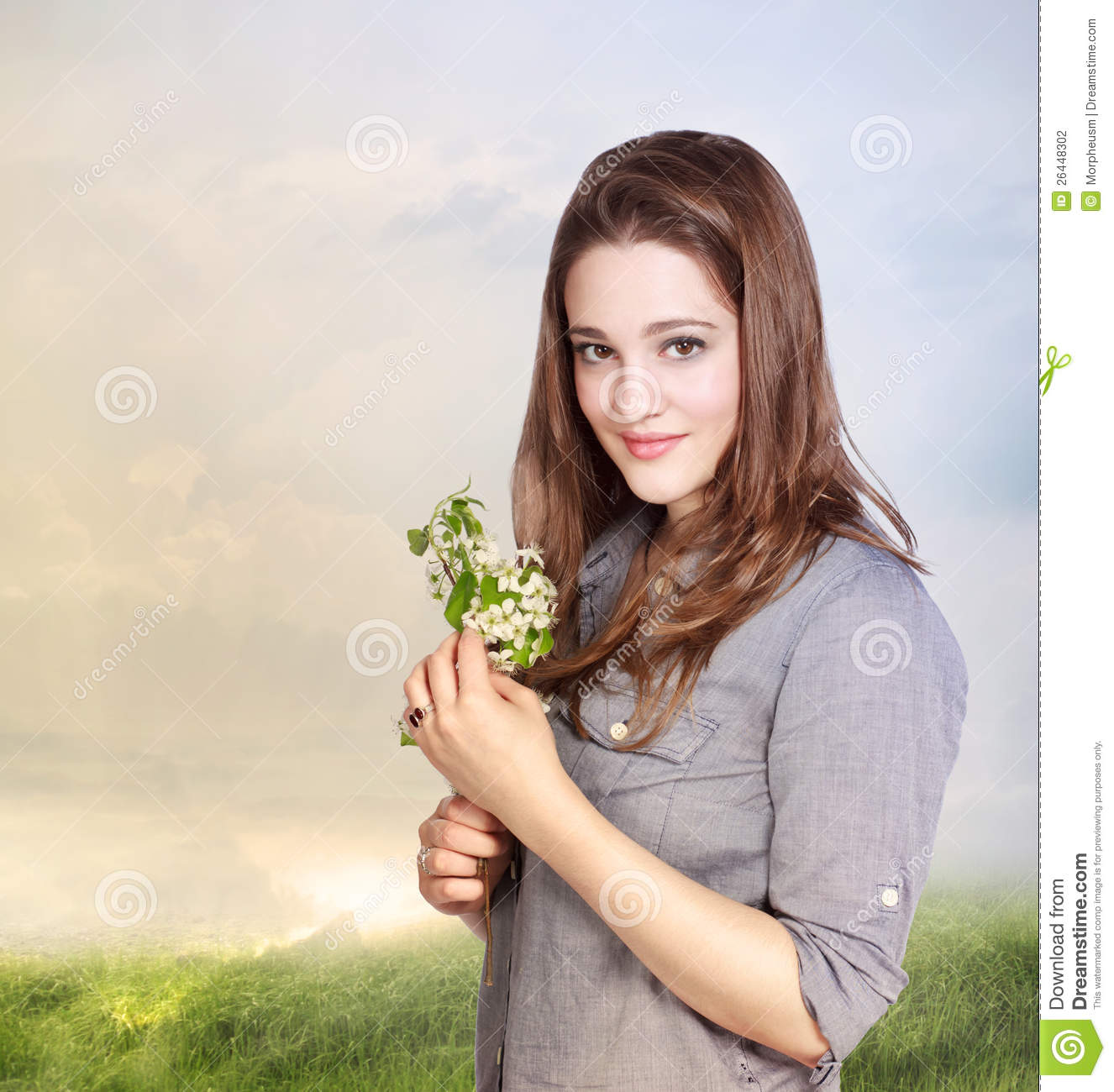 young woman holding flowers stock photography image