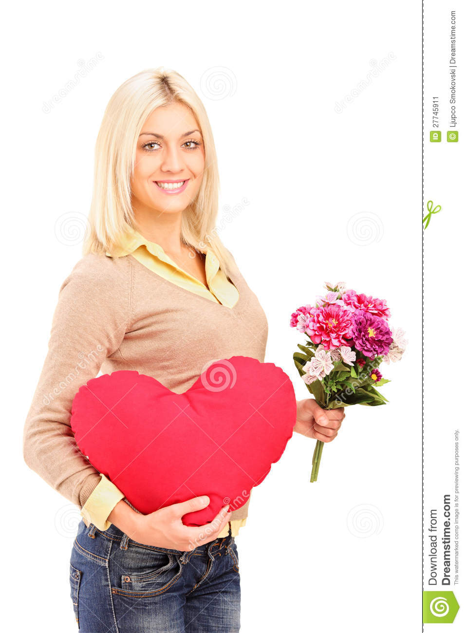 A Young Woman Holding Flowers And Red Heart Stock Image ...
