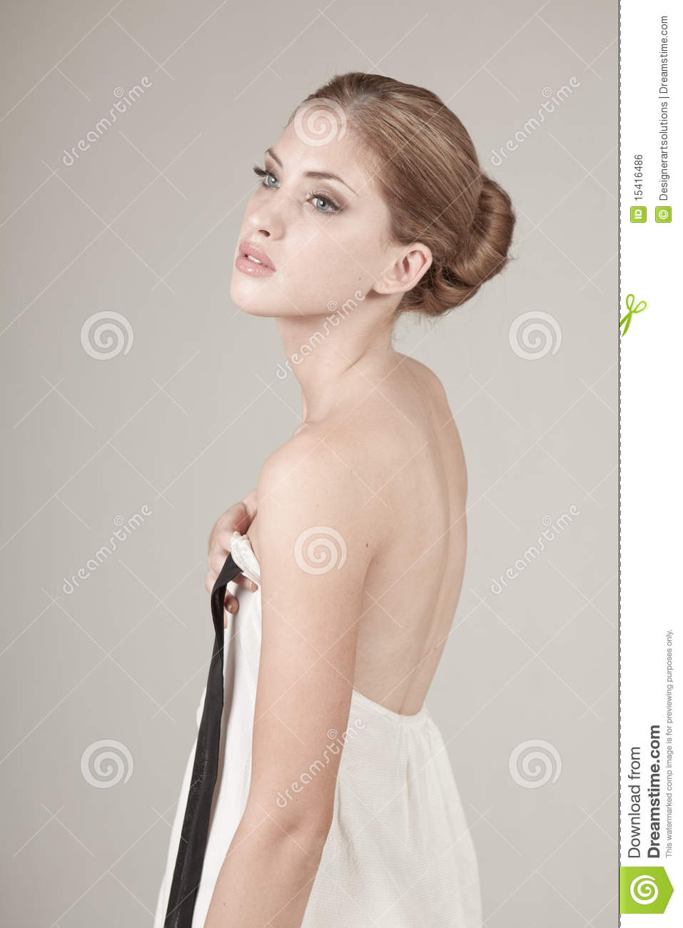 Young Woman Holding the Front of Her Dress