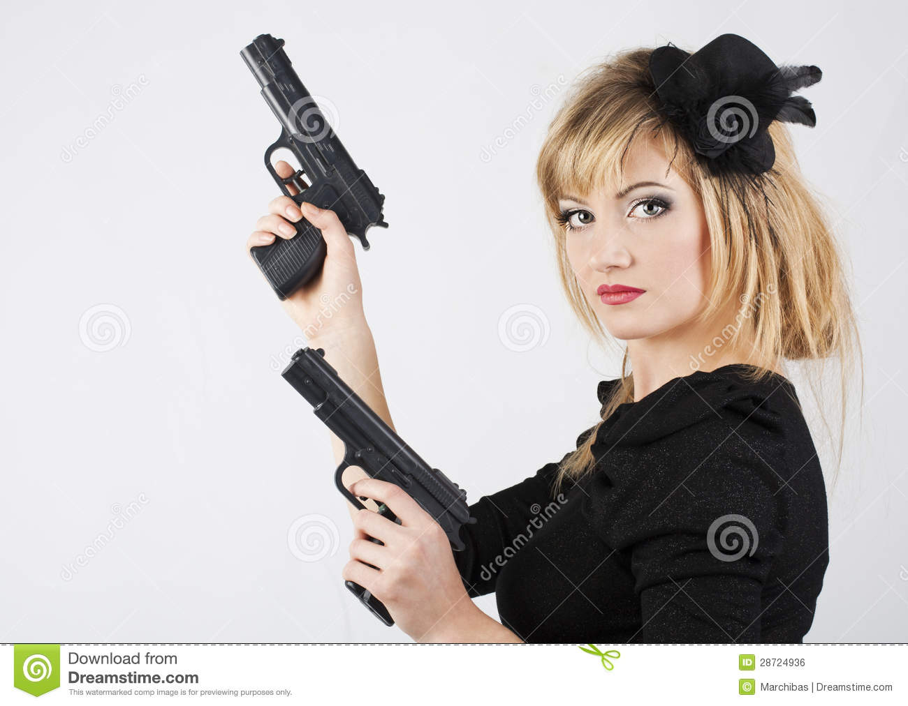 Young Woman Holding A Gun Royalty Free Stock Image - Image ...