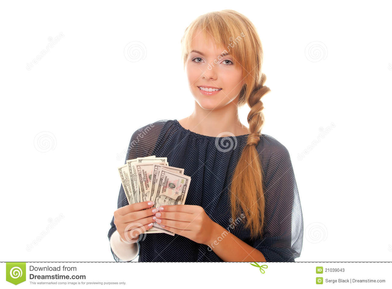 Young Woman Holding In Hand Cash Money Dollars Stock ...