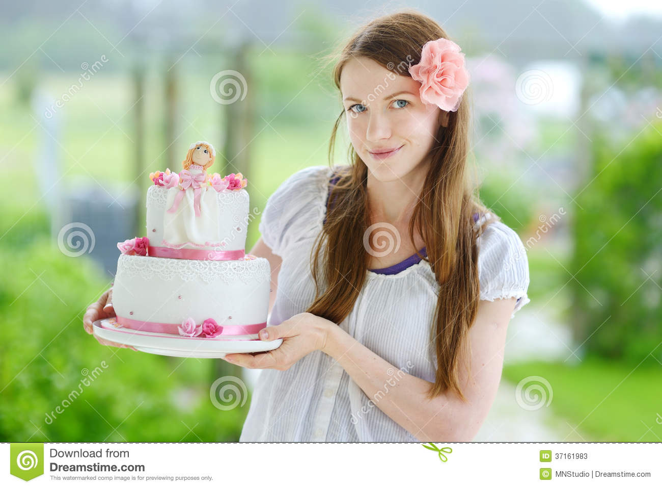 Young Woman Holding Her Birthday Cake Stock Image Image