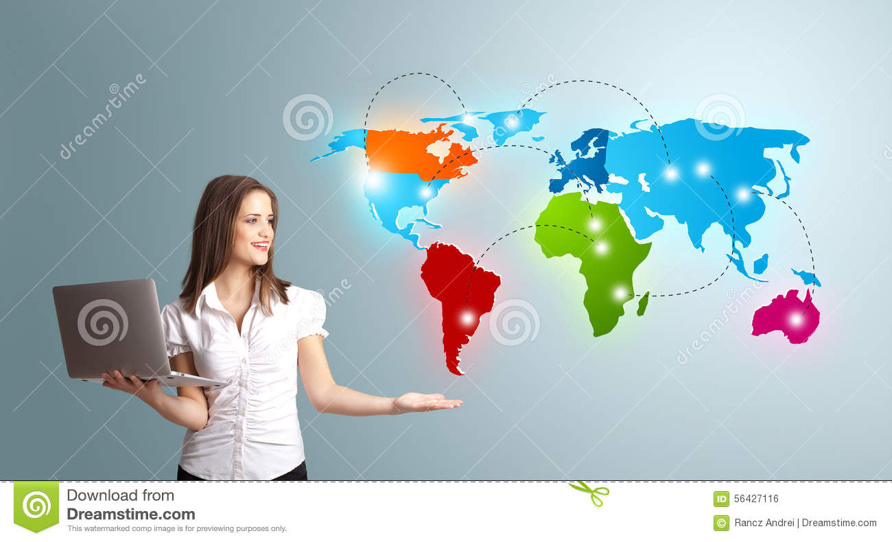 Young woman holding a laptop and presenting colorful world map stock laptop and presenting colorful world map royalty free stock photo gumiabroncs Images