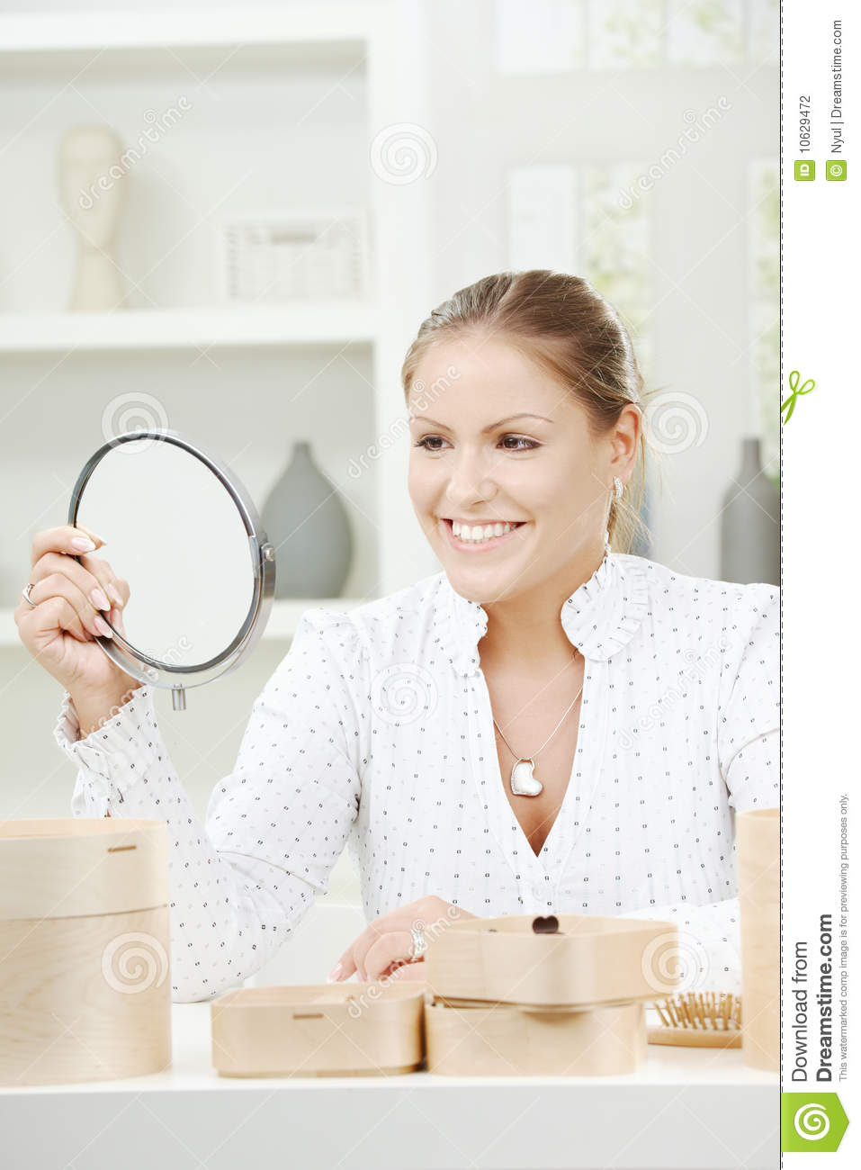 Young Woman Holding Mirror Stock Photo Image Of Female
