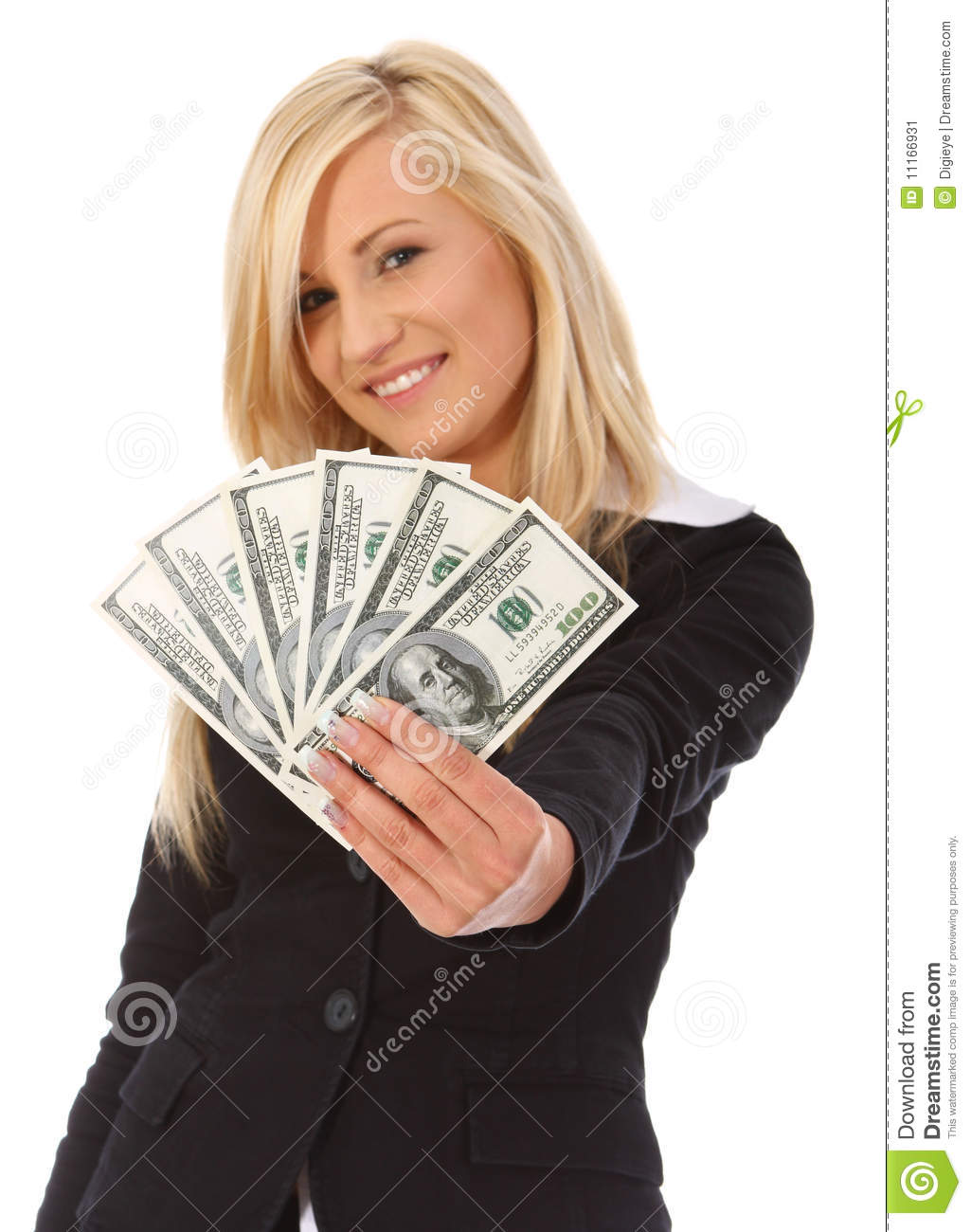Young woman holding money stock image. Image of dollar ...