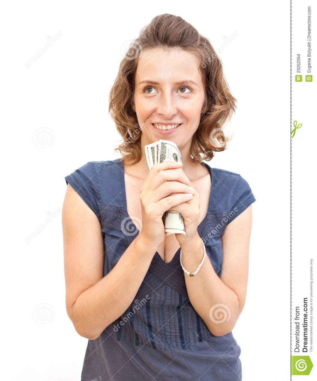 Young Woman Holding Money In Hands Stock Images - Image ...