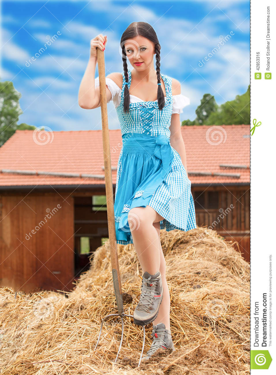 Young Woman Holding Pitchfork Stock Photo - Image Of Germany, Culture 42853316-2653