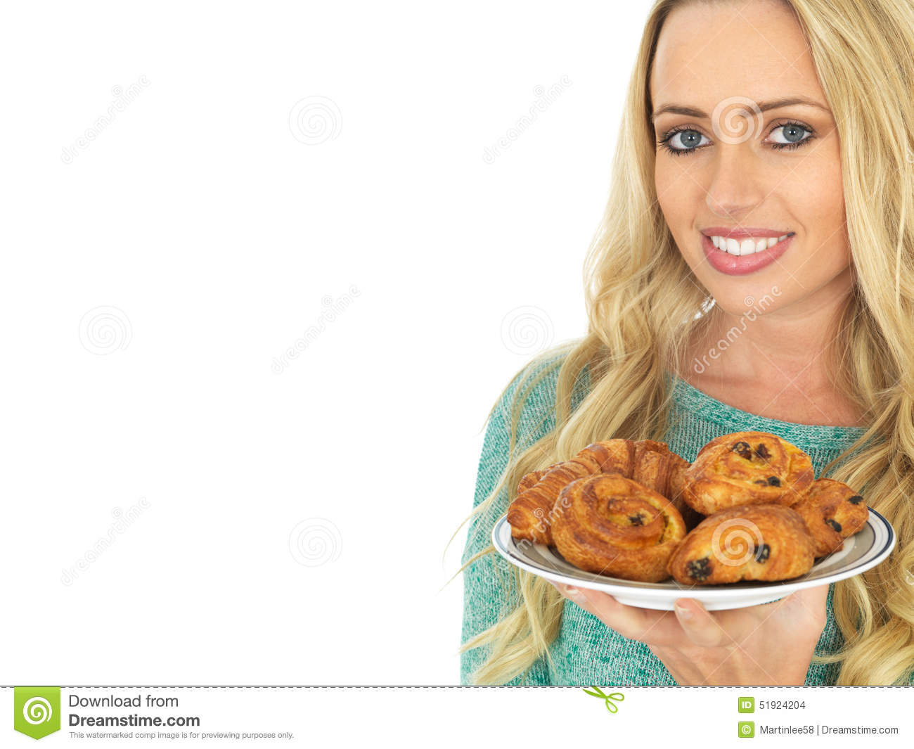 Young Woman Holding a Selection of Danish Pastries
