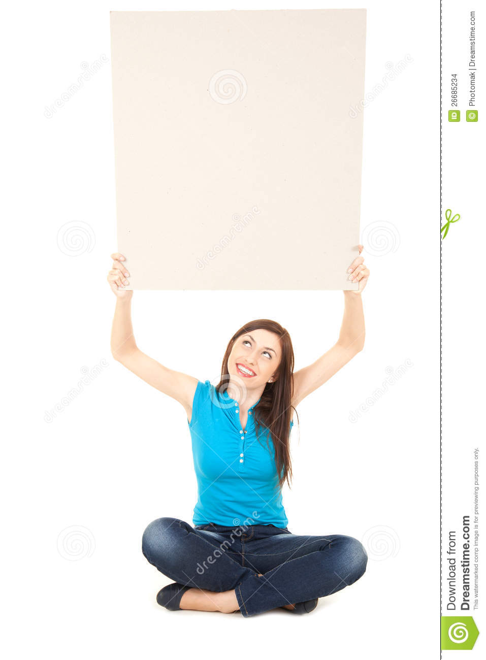 Young Woman Holding Up Blank Sign Above His Head Stock