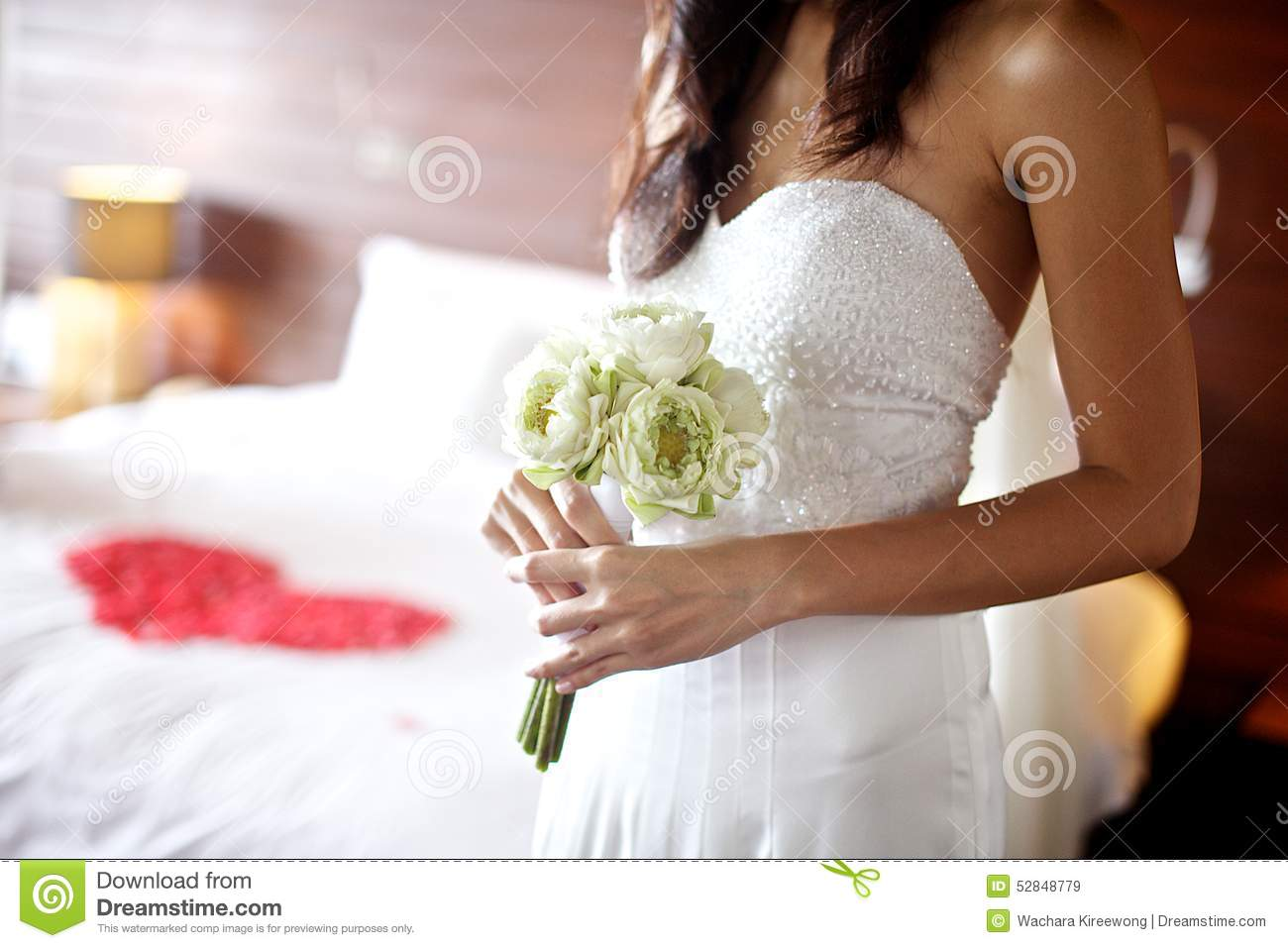 Young Woman Holding White Lotus Wedding Bouquet Stock Image Image
