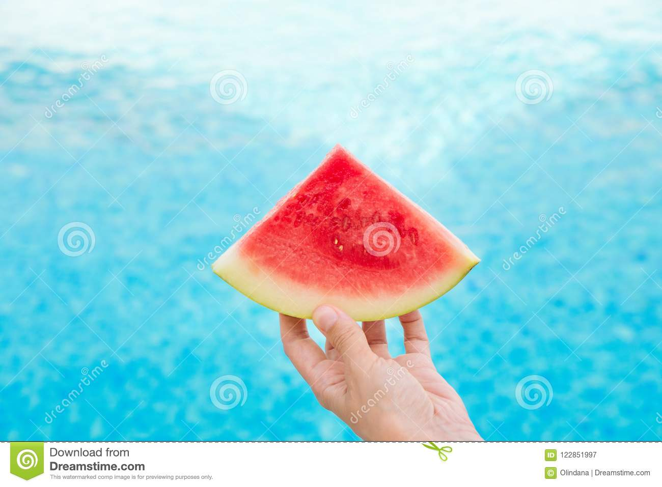 Young Woman Holds In Hand Wedge Slice Of Juicy Watermelon By ...