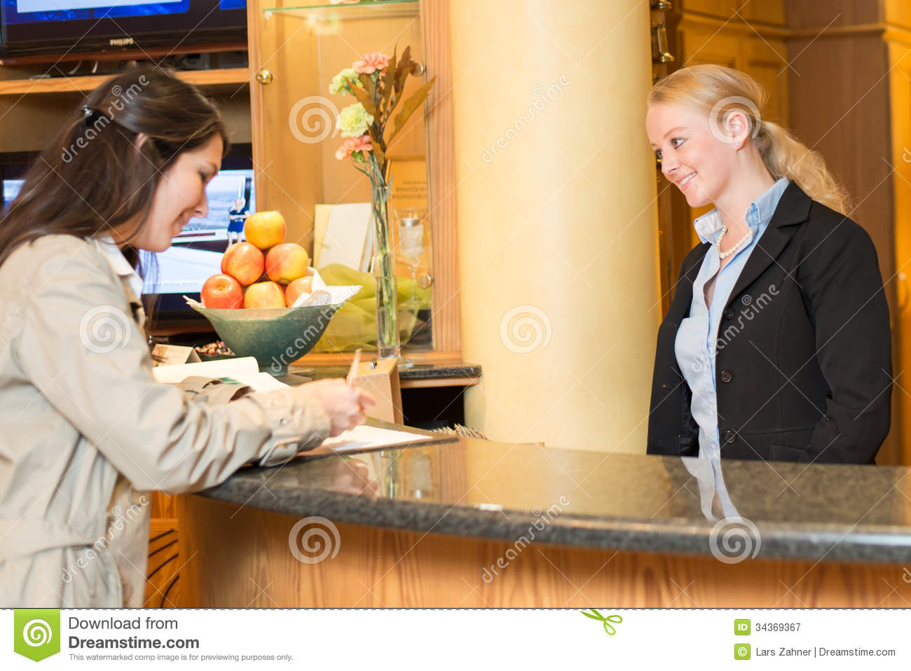Young Woman At The Hotel Reception Stock Image - Image of ...