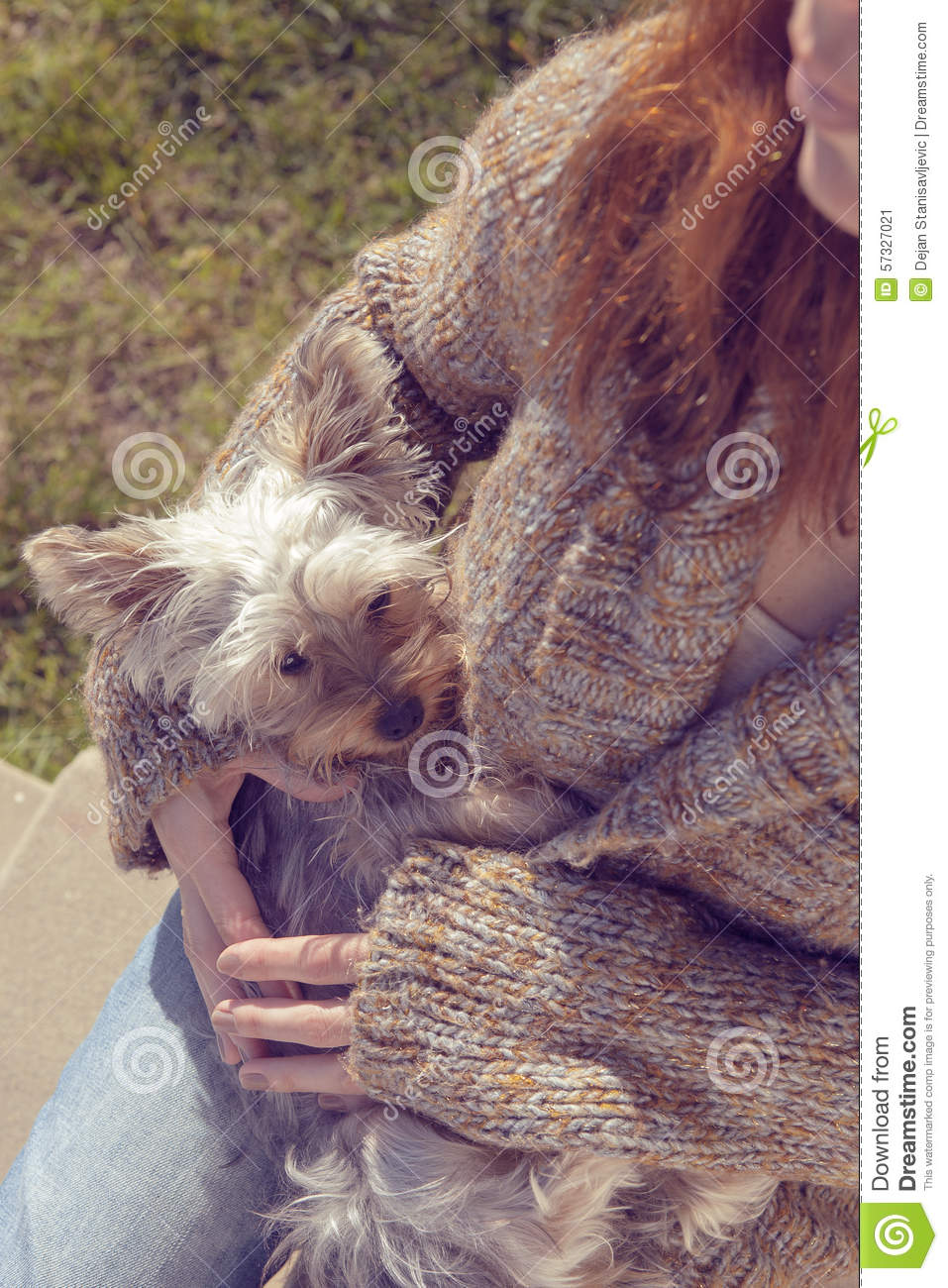 Young Woman Hugging And Cuddling Her Yorkshire Terrier Puppy Dog In