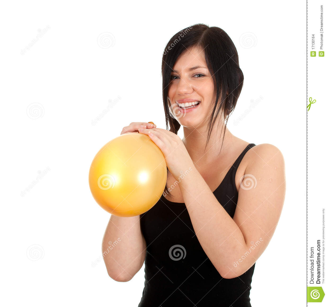 More similar stock images of ` Young woman inflating yellow balloon `