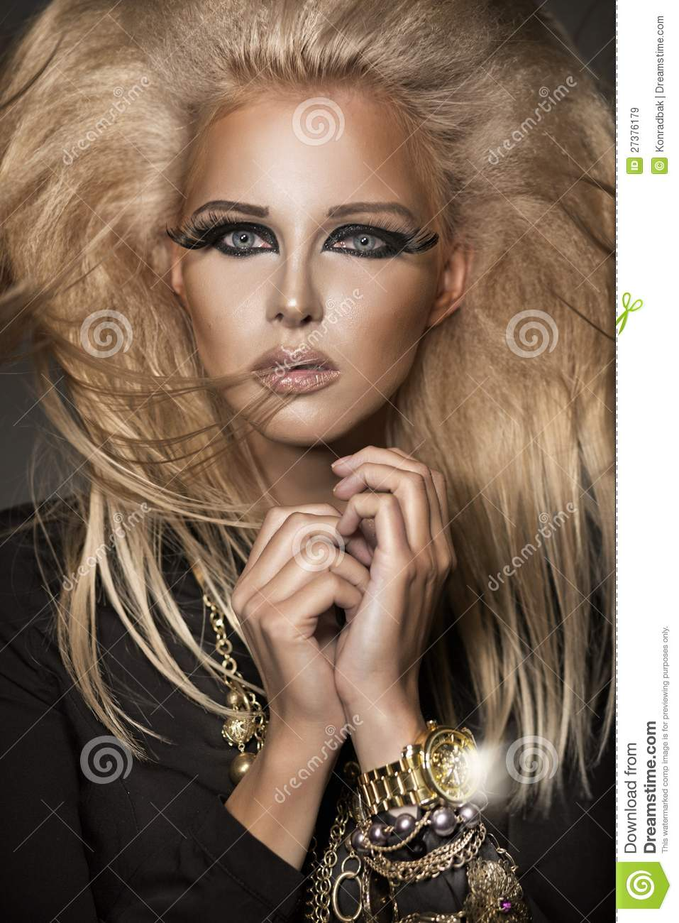 Some Fascinating Teenage Girl Bedroom Ideas: Young Woman With Interesting Make-up Royalty Free Stock