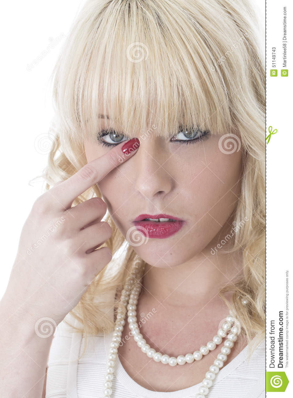 Young Woman Itchy Eye Wiping Away Tear
