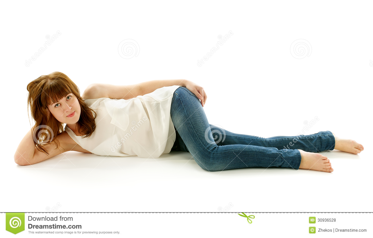 Design A Floor Plan Free Young Woman In Jeans And Barefoot Royalty Free Stock