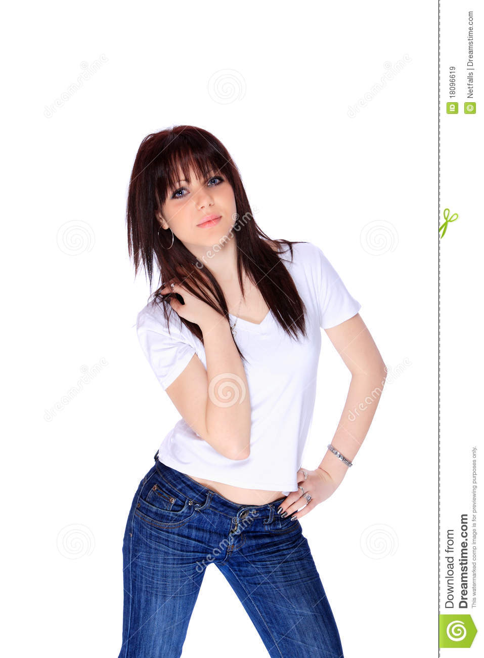 Young Woman In Jeans And T Shirt Royalty Free Stock Images - Image 18096619