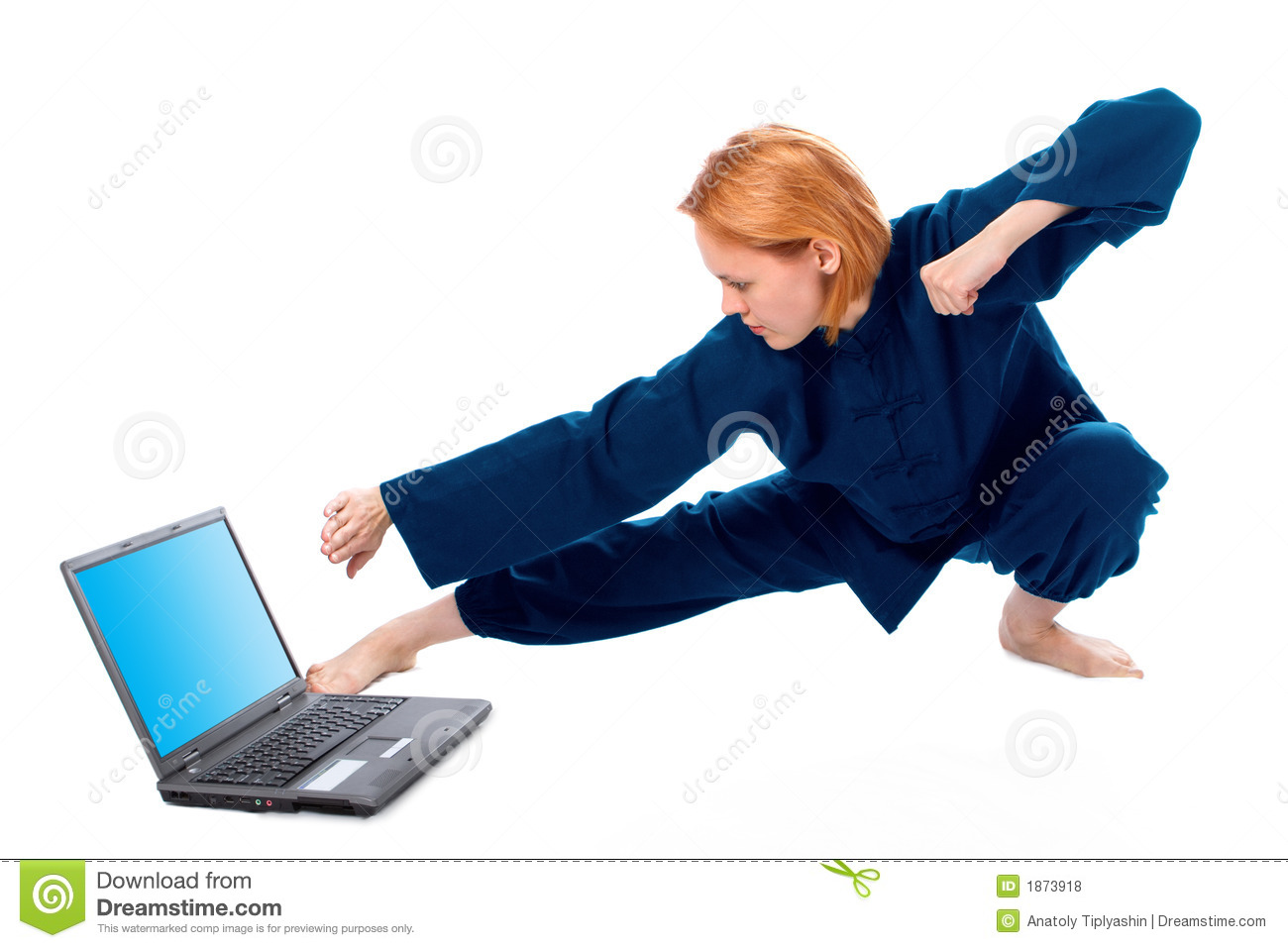 Young woman in kimono attend yoga with laptop